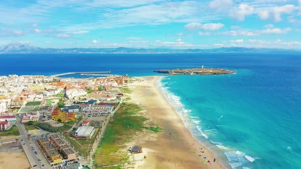 Thumbnail for Beautiful Scenic Aerial View of Tarifa City, Spain.
