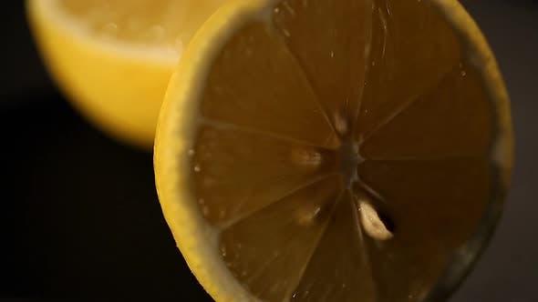 Thumbnail for Fresh Cut Lemon Closeup, Juicy Ingredient for Lemonade or Cocktail, Culinary