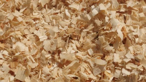 Background   with wood cutting scobs pile slow pan 4K 2160p 30fps UltraHD footage - Wooden sawdust o