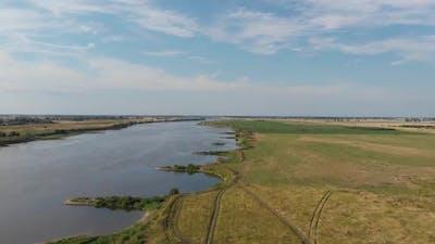Aerial shot of the Vistula river.