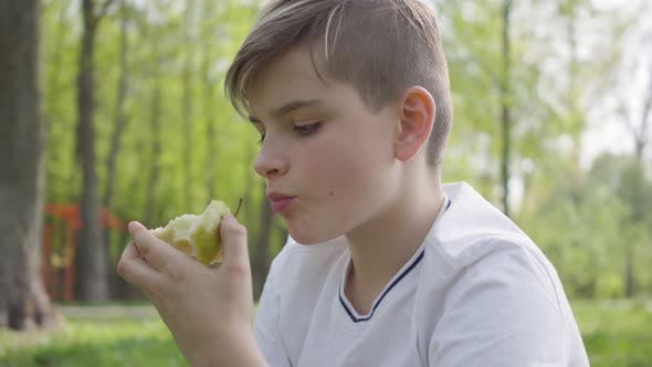 Cover Image for Portrait Young Little Boy Sitting with Pillow in the Green Park and Eating an Apple Outdoors