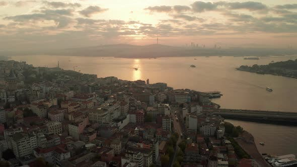 Sunrise Morning Over Istanbul From an Aerial Drone Perspective with Golden Light Reflecting on