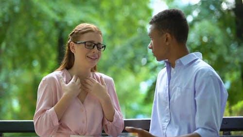 Teen Girl in Eyeglasses Complaining