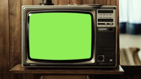 Thumbnail for Old Sepia Television in Living with Green Screen. Zoom Out.