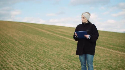 Agriculture - Famer Working at Field at Agriculture Industry