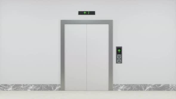 The elevator in the corridor.