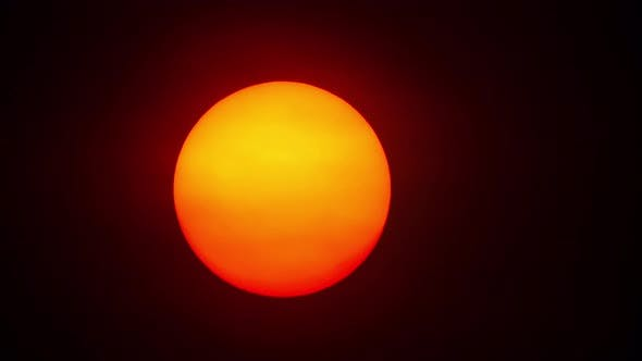 Red Sun Sphere in Thick Smog