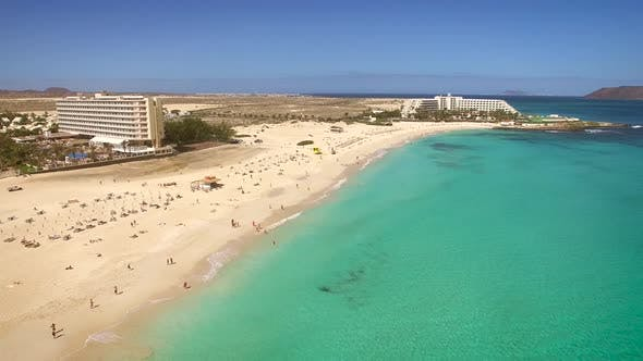 Thumbnail for Aerial view of Corralejos Big Beaches with turquoise sea in Fuerteventura.
