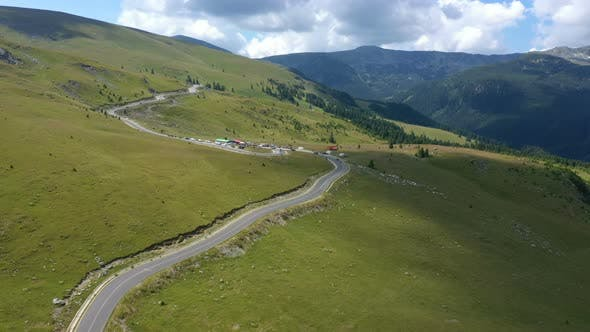 Aerial View Of Famous Romanian Mountain Road Transalpina