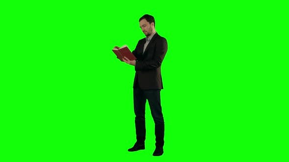 Thumbnail for Young Student Reading a Law Book  on a Green Screen