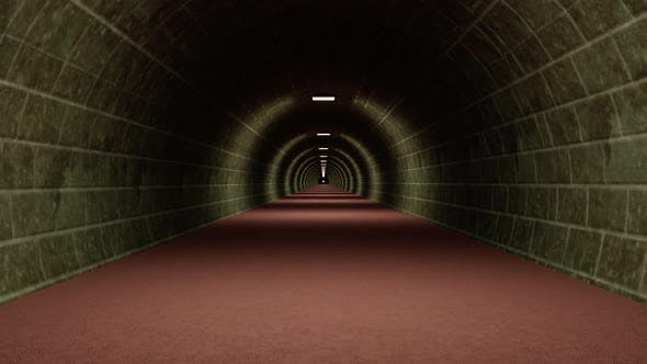 3D render camera moves through a tunnel with lights