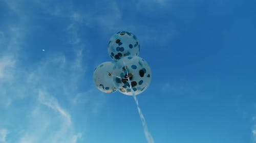 Bottom View on Balloon on a Background of Blue Sky