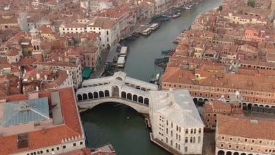 Aerial view of Rialto Bridge: the oldest bridge on Grand Canal in Venice, Italy