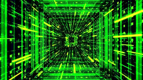 Green sci fi tunnel, abstract futuristic technology concept