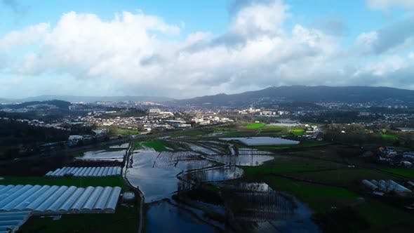 Aerial View Flood Agriculture Fields