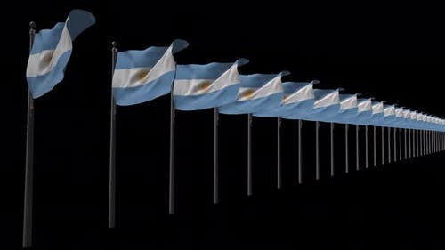 Row Of  Argentina Flags With Alpha 4K