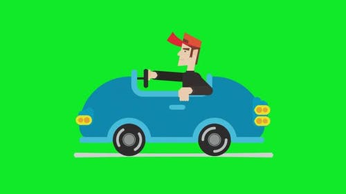 Animation of a cartoon man driving car with green screen background.
