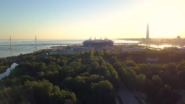 Aerial View of the Saint Petersburg Stadium on Krestovsky Island.