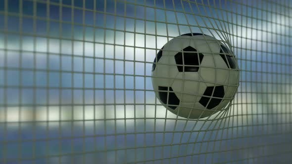 Football Flying to Goal Night