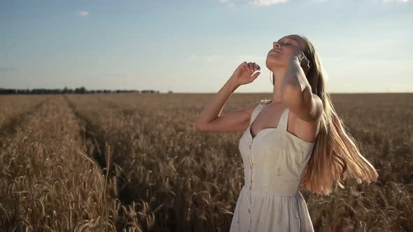 Thumbnail for Romantic Pretty Woman Standing in Wheat Field
