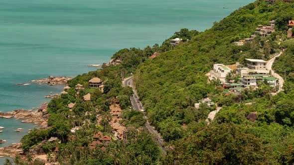 Cover Image for Aerial close up view of road and villas on sea coasta of Koh Samui, Thailand