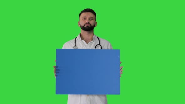 Thumbnail for Doctor Holding a Blank Panel on a Green Screen, Chroma Key