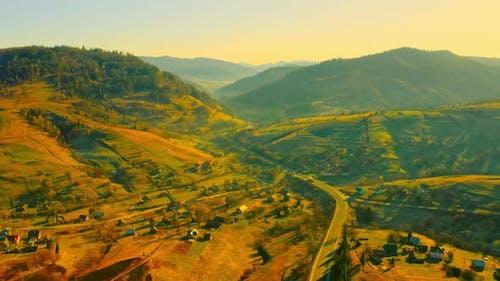 Aerial View on Rural Scene at Sundown