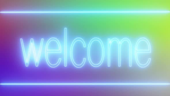 Flickering neon light welcome signboard