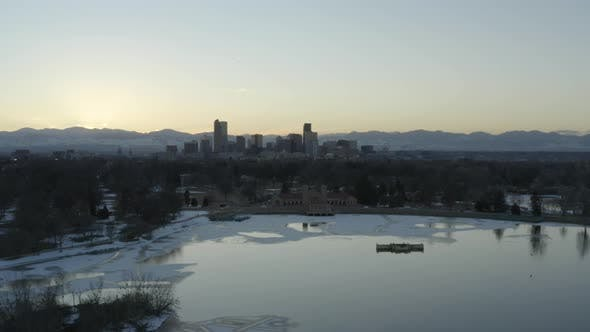Thumbnail for Sunset Denver Colorado City Park Frozen Lake