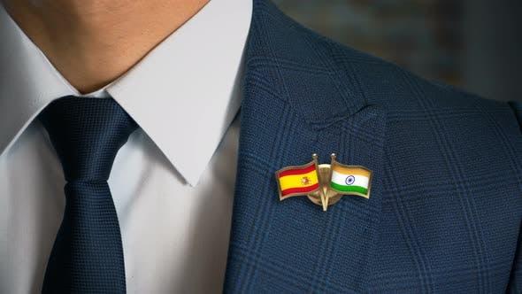 Businessman Friend Flags Pin Spain India