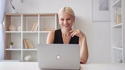 Video Call Virtual Meeting Mature Business Woman