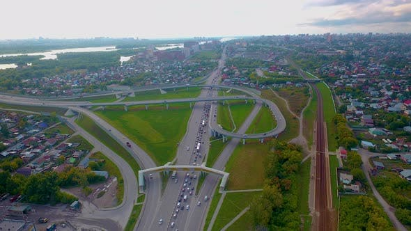 Thumbnail for Hyperlapse City Street Intersection Traffic Circle Roundabout in Novosibirsk