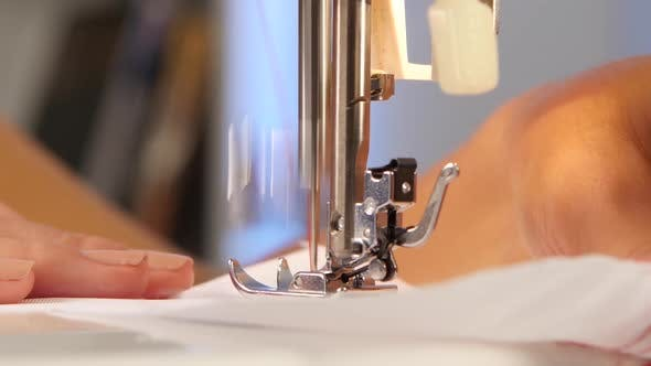 Thumbnail for Sewing Machine, the Needle Pierces the Fabric. Close Up
