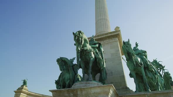 Thumbnail for Equestrian statues at the Heroes' Square monument