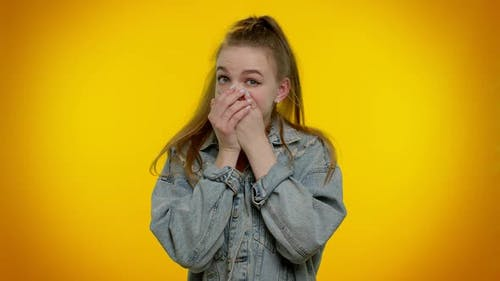 Frightened Scared Girl Closing Her Mouth Gestures No Refusing to Tell Terrible Secret Truth