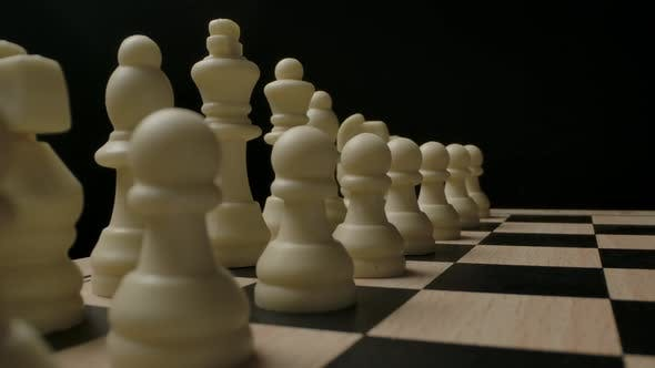 White Chess Figures in Start Position Ready to Game