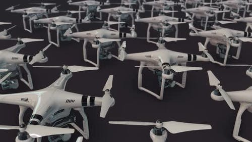 a lot of drones in a row hd