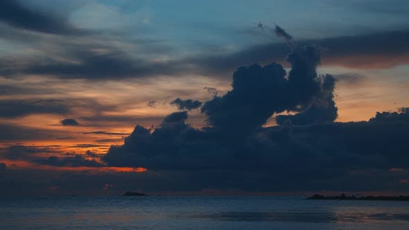 Time Lapse of Cloudy Sunset or Sunrise Landscape