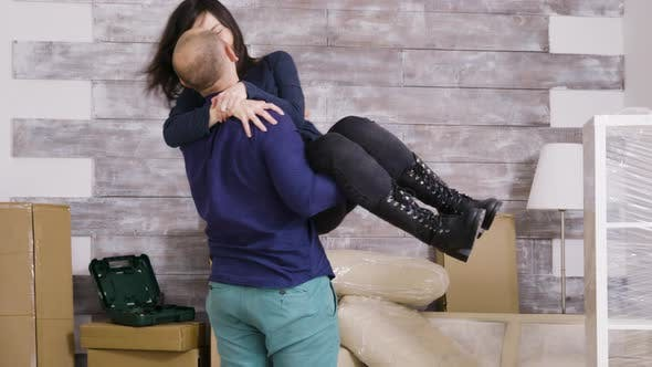 Thumbnail for Cheerful Boyfriend Spining His Girlfriend in Their New Apartment