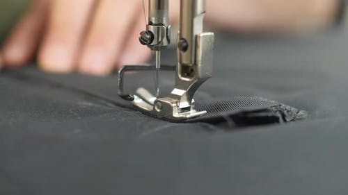 Sewing at the sewing machine