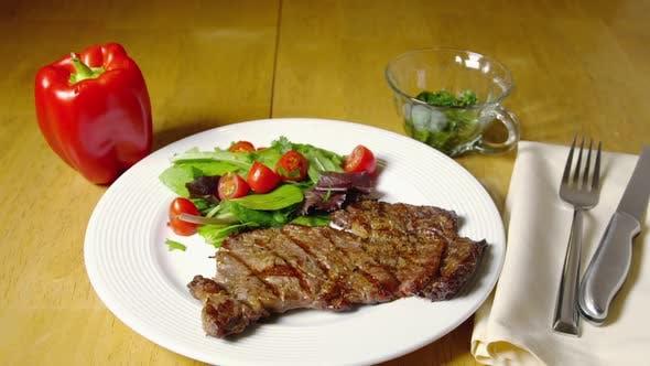 Juicy Grilled Beef Steak Served With Salad 07