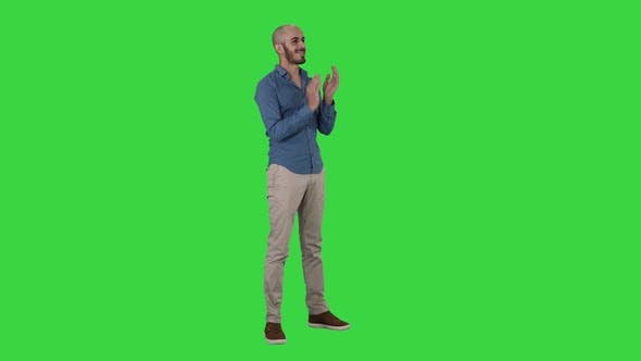 Thumbnail for Handsom Arab Clapping His Hands Applauding on a Green Screen, Chroma Key
