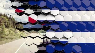 Cuba Flag Hexagon Transition - 4K Resolution