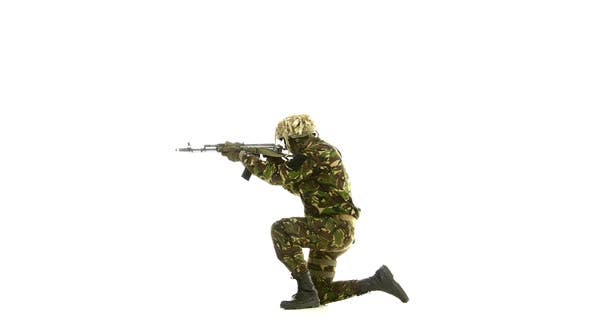 Thumbnail for Soldier Took Aim, While Standing on One Knee. White Backgraund
