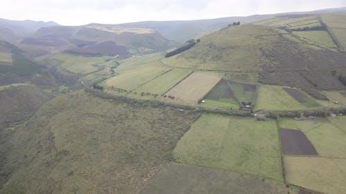 Aerial Drone Ecuador Green Hillsides Slope Farming Agriculture Fields Cropland
