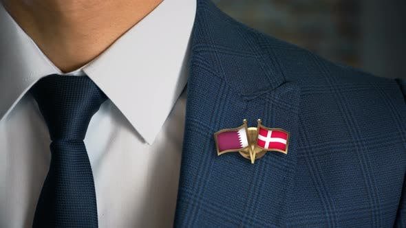Thumbnail for Businessman Friend Flags Pin Qatar Denmark