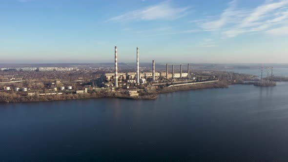 Aerial View of Coal-Fired Power Plants in a Large Area Near the River