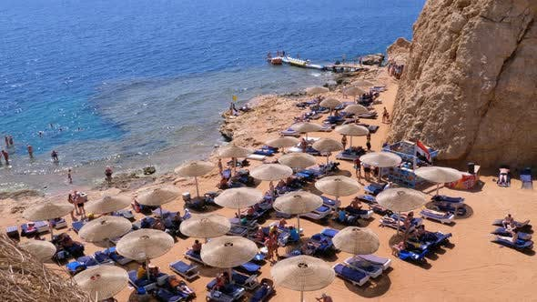 Thumbnail for Rocky Beach in a Bay with Umbrellas and Sunbeds in Egypt on Red Sea.