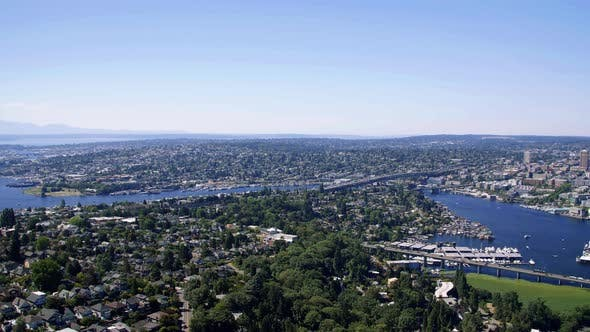 Thumbnail for Helicopter Aerial Over Seattle Washington Evergreen State Neighborhoods