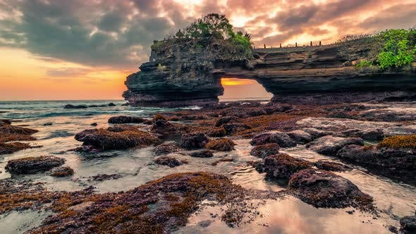 Thumbnail for Dramatic Sunset at Epic Rocky Batu Bolong and Tanah Lot Temple in Bali, Indonesia. Timelapse